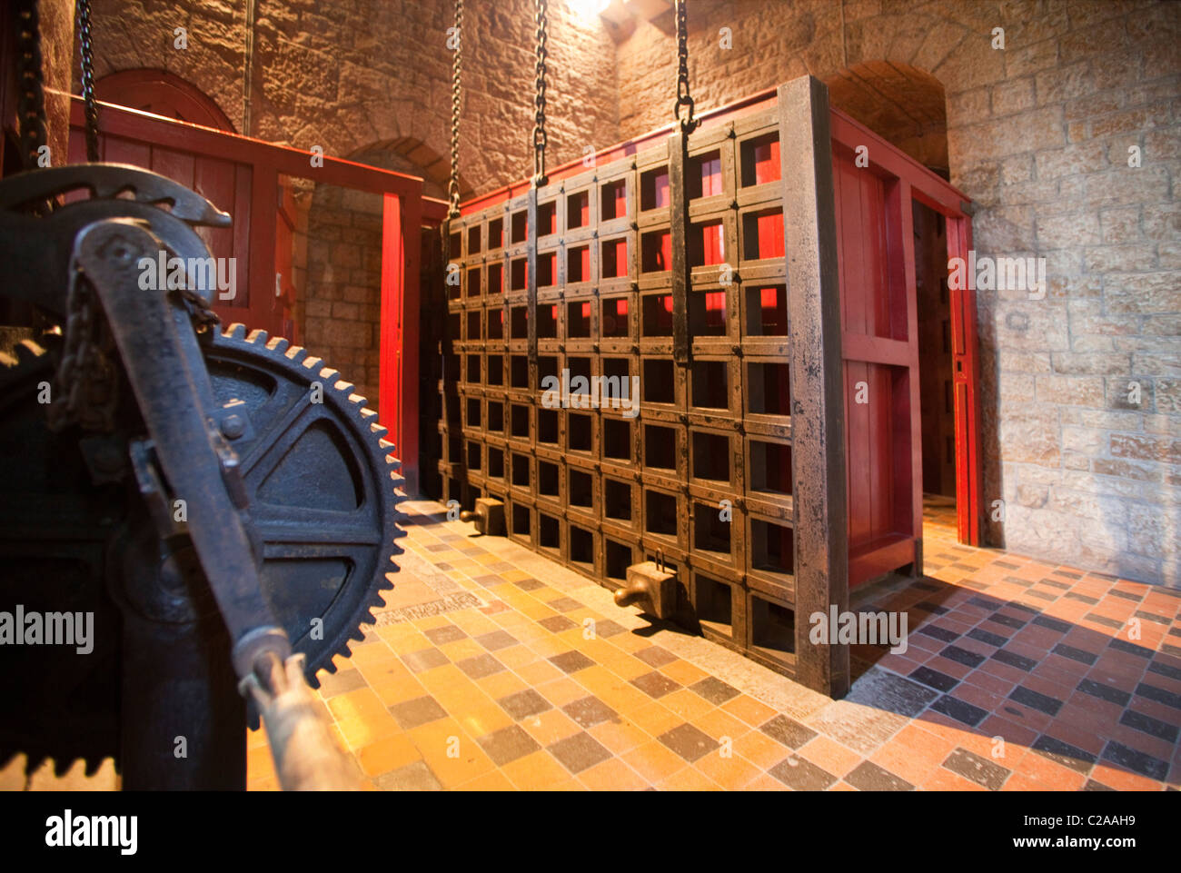 Interior view of strong portcullis door Gate Medieval Castle Castell Coch Cardiff Wales 117262 Castell Coch & Interior view of strong portcullis door Gate Medieval Castle Stock ...