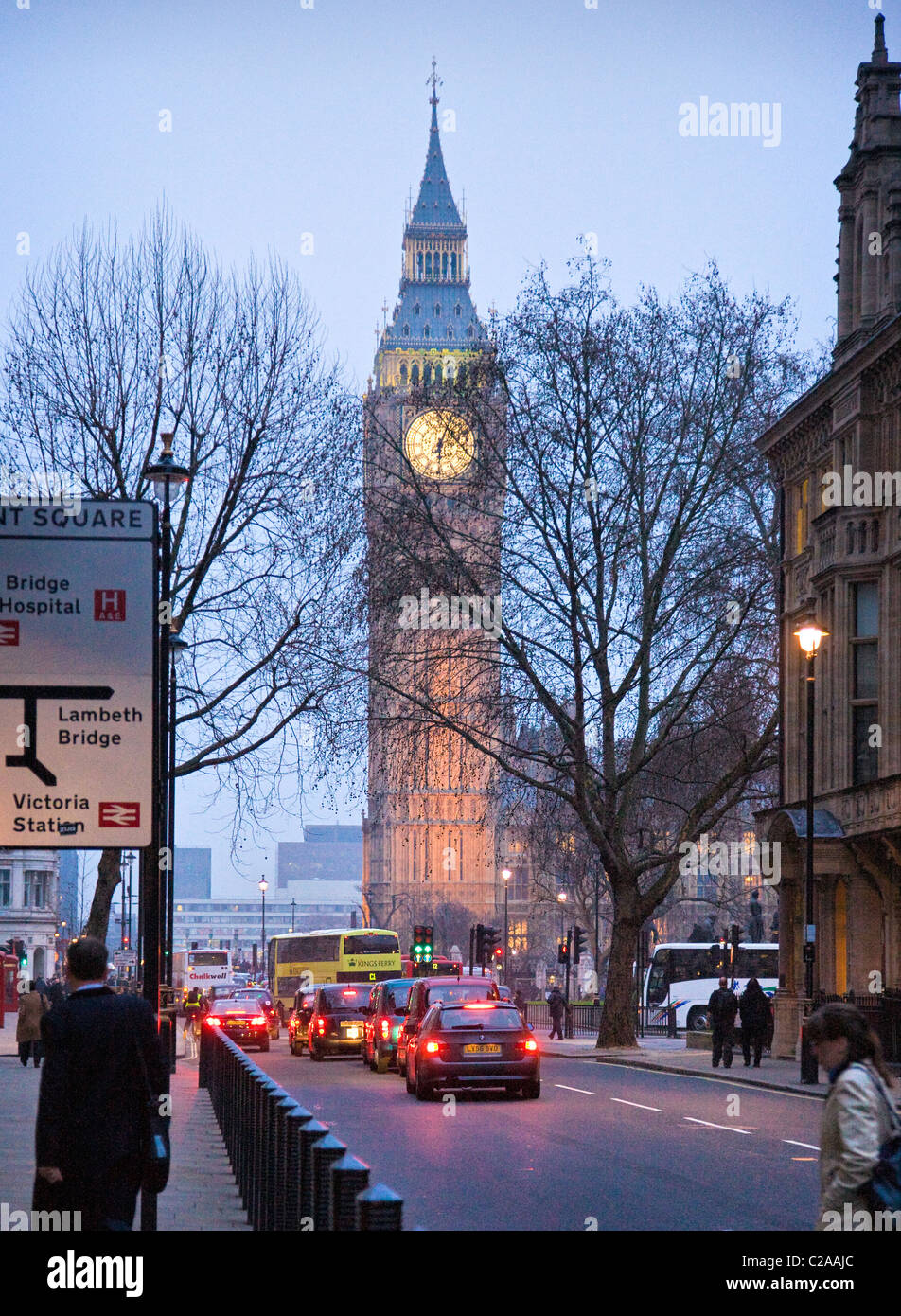 Big Ben or St Stephen's tower on Parliament Square in London at dusk on a winter's evening - Stock Image