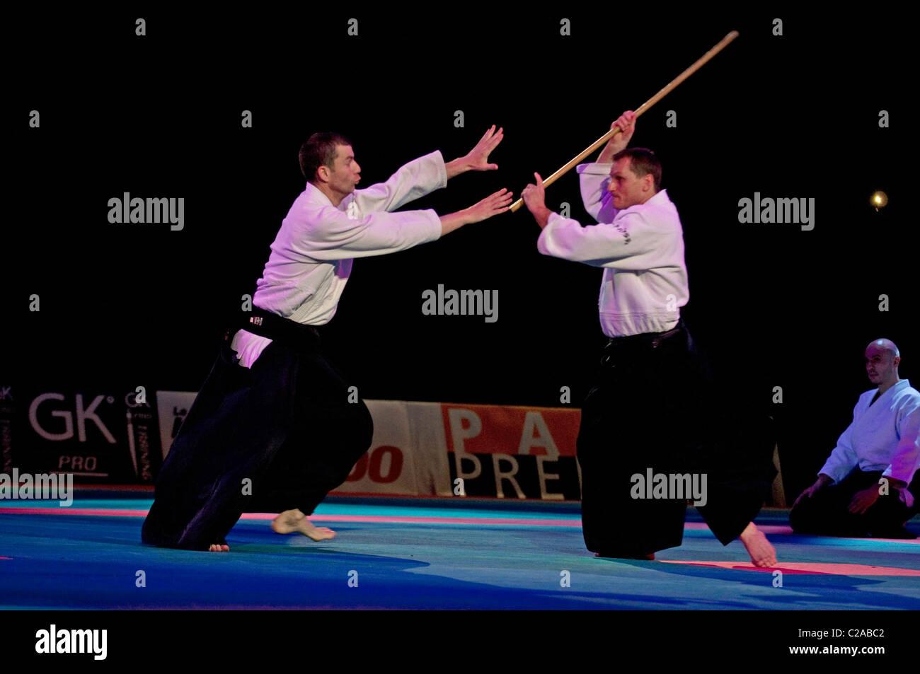 Aikido at Festival des Arts Martiaux de Bercy, Paris - Stock Image