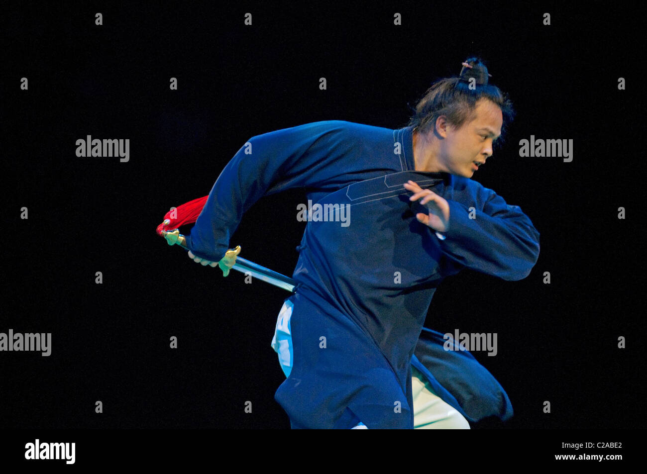 Kung Fu Wudang Exhibition at Festival des Arts Martiaux de Bercy, Paris. - Stock Image