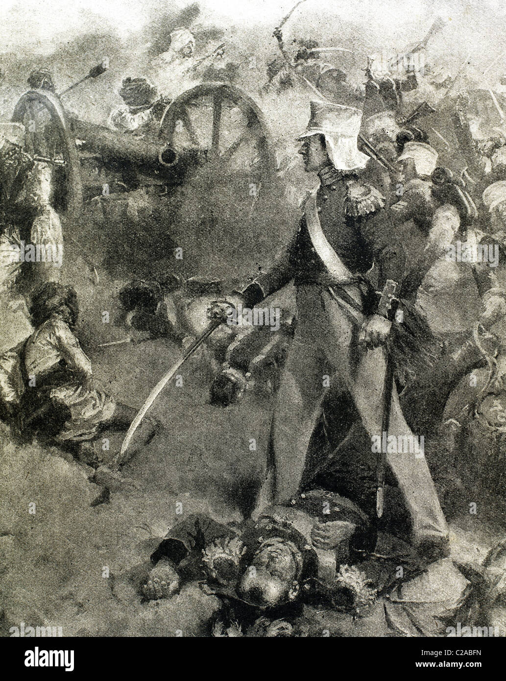 The Second Anglo-Sikh War. It took place in 1848 and 1849, between the Sikh Empire and the British East India Company. - Stock Image