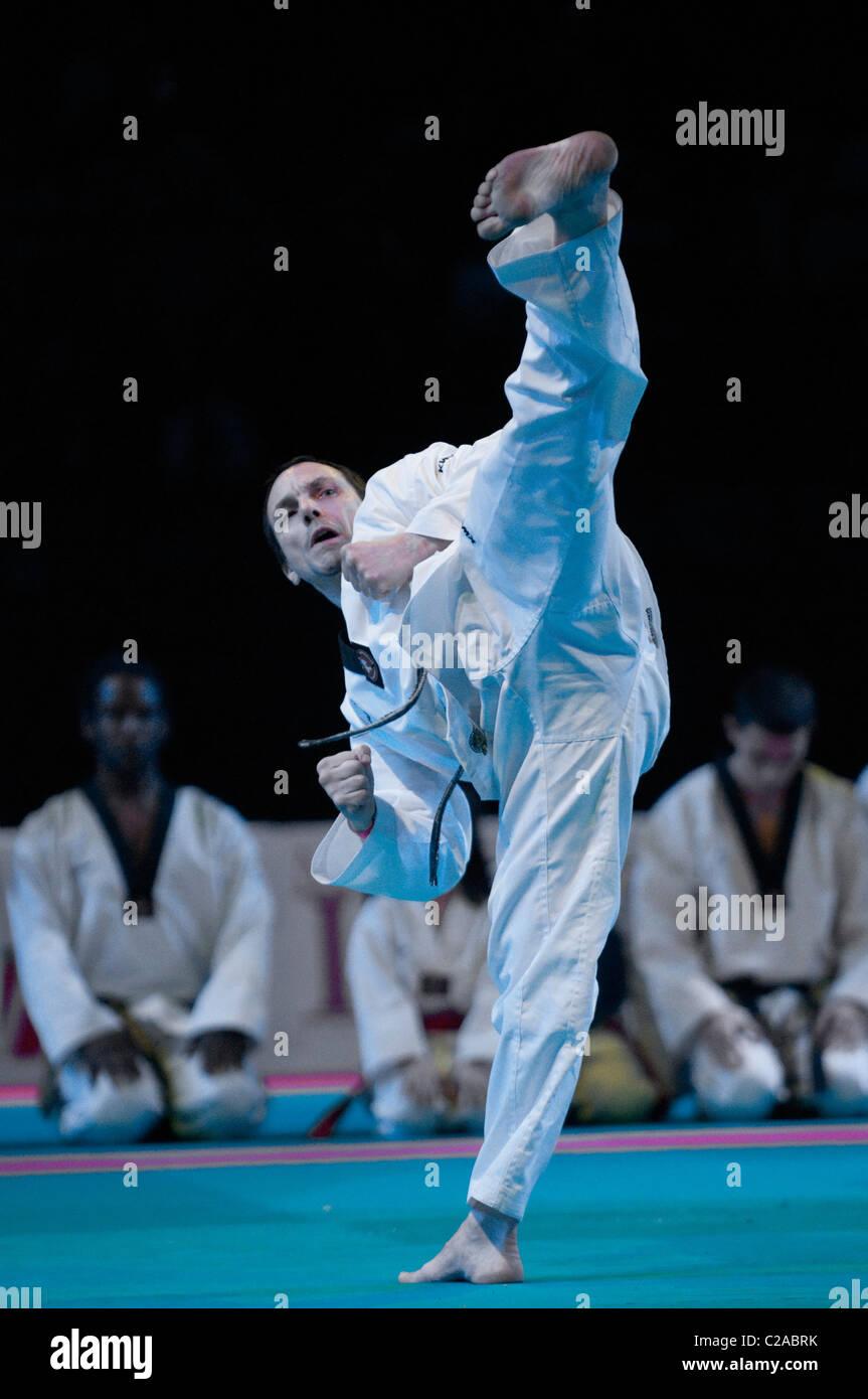 Taekwondo by Michel Carron at Festival des Arts Martiaux de Bercy, Paris. - Stock Image
