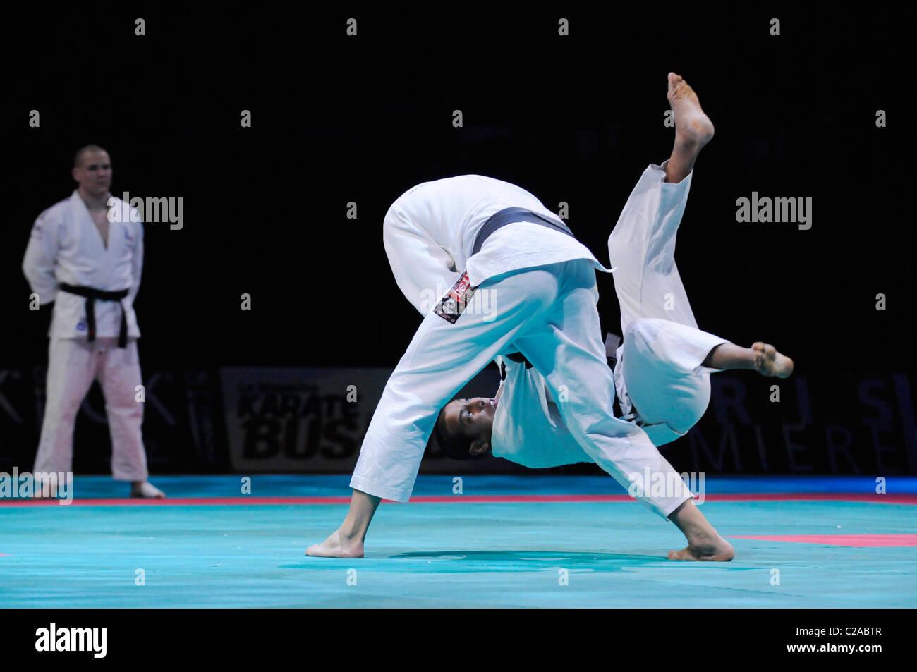 Ju Jitsu Koda with Vincent Parisiat at Festival des Arts Martiaux de Bercy, Paris. - Stock Image