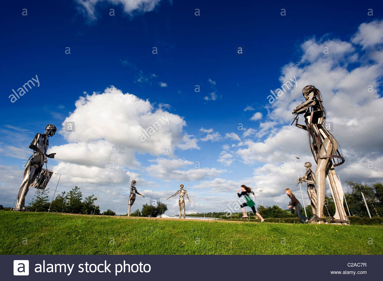 'Let The Dance Begin Sculpture' in Strabane, Northern Ireland. - Stock Image