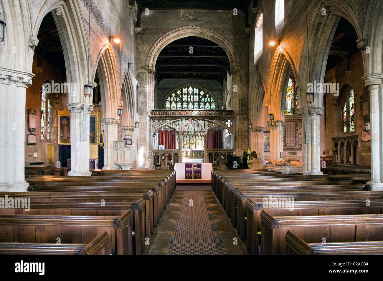 Interior of St Mary the Virgin church Berkeley in Gloucestershire - Stock Image