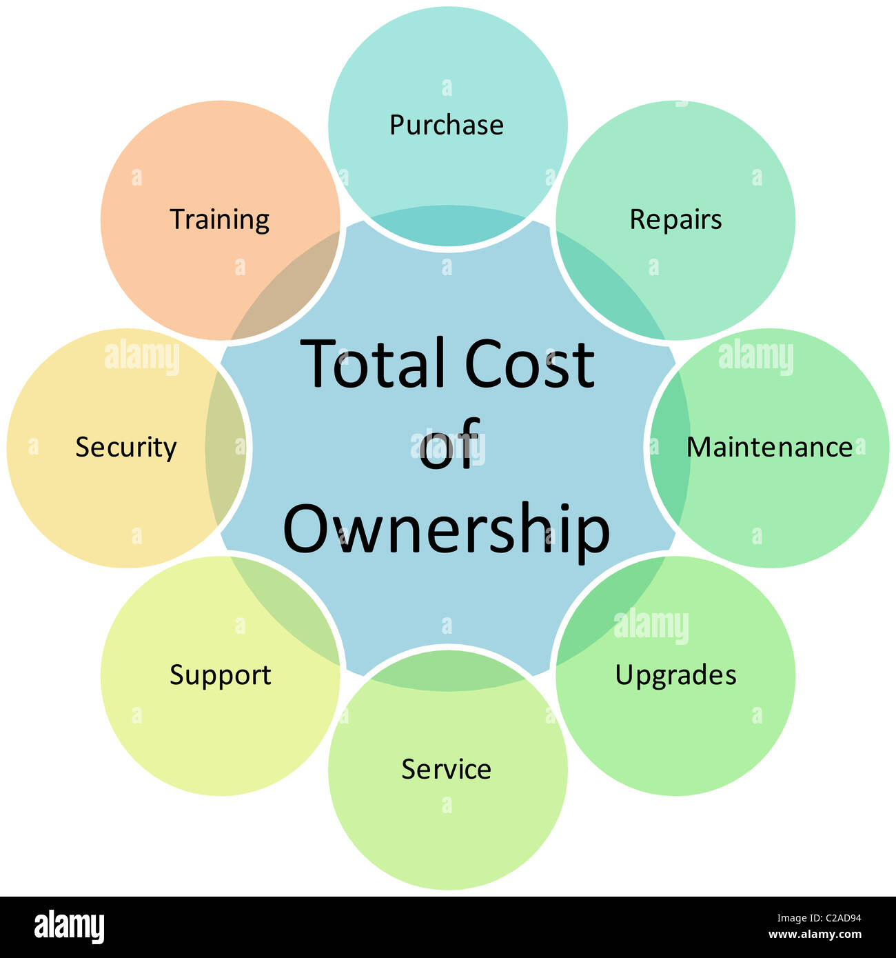 Total Cost of Ownership business diagram management chart illustration - Stock Image