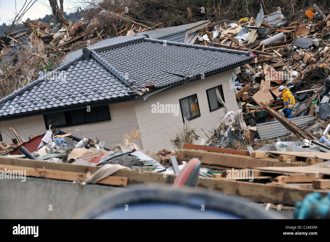 Japanese search and rescue teams search for survivors after thousands of homes were destroyed after a 9.0 Mw earthquake - Stock Image