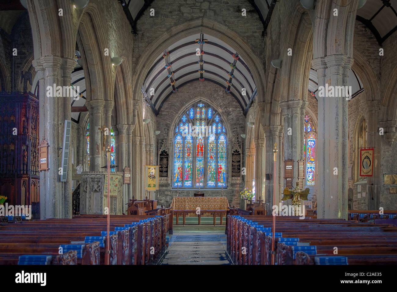 An internal image of St Eustachius' Parish Church in Tavistock. An exposure blend of 5 images. - Stock Image