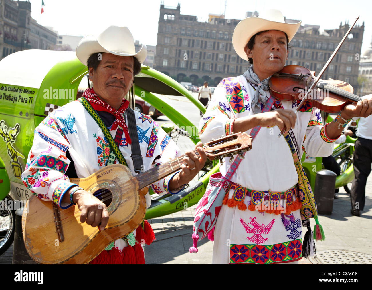 Mexican Men Playing Guitar The Zocalo City Mexico - Stock Image