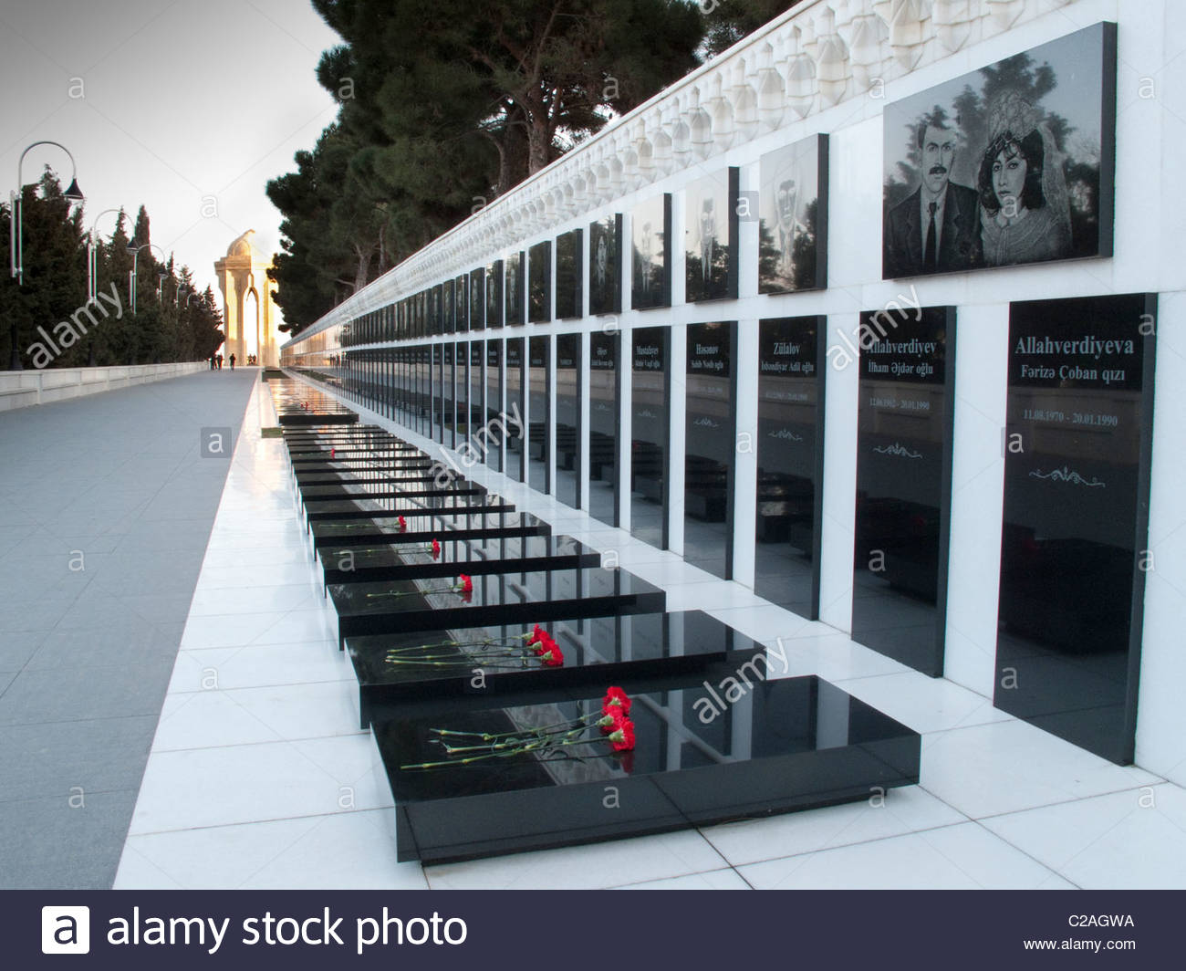 Martyrs' Lane, memorial to those killed by Soviets, Black January 1990. Stock Photo