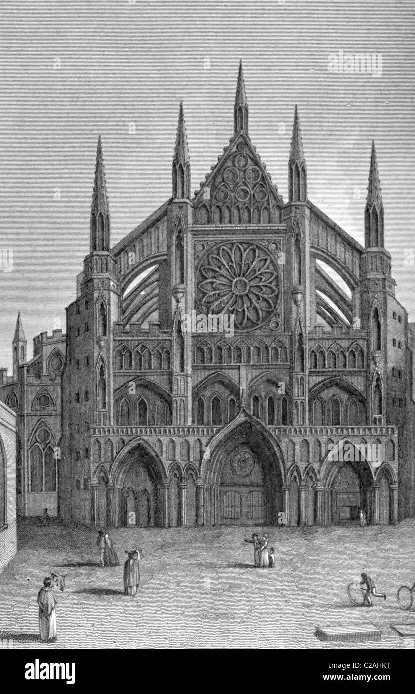 Westminster Abbey, London - the North Portico, anciently called 'The Beautiful' (published 1813) - Stock Image