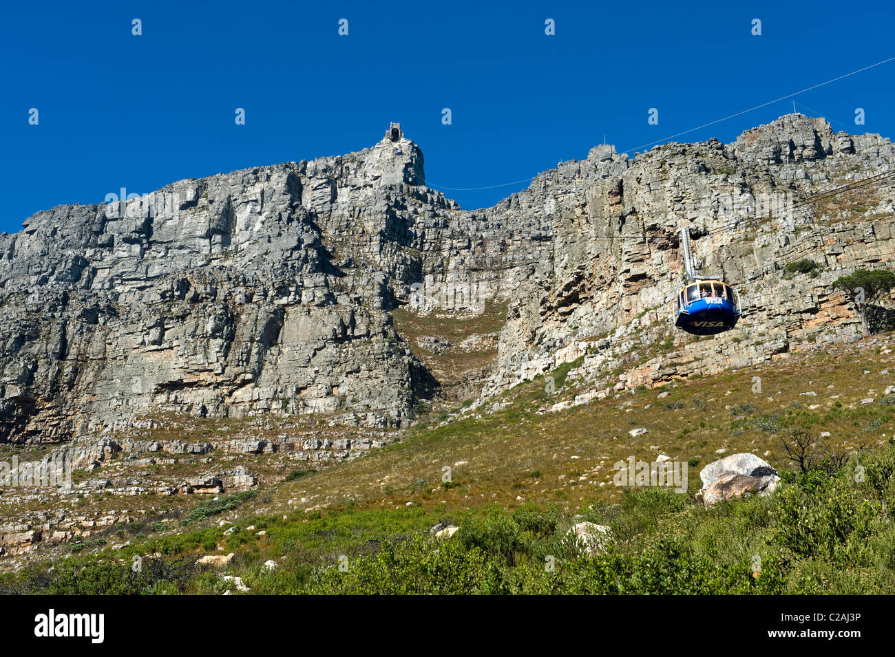 Table Mountain Upper Cable Station and cable car view from Tafelberg, Cape Town, South Africa - Stock Image