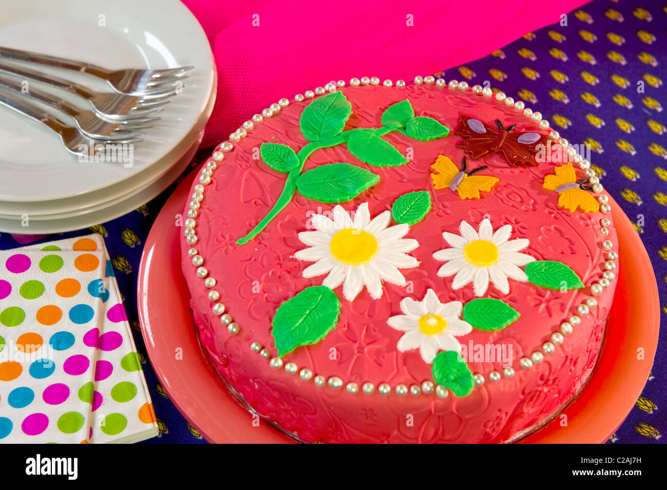Pink Birthday Cake Flowers Butterflies Stock Photos Pink Birthday