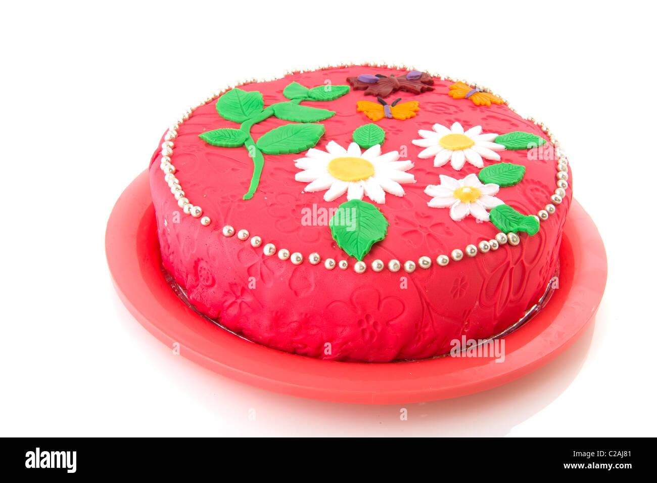 Pink Birthday Cake Flowers Butterflies Stock Photos Pink Birthday