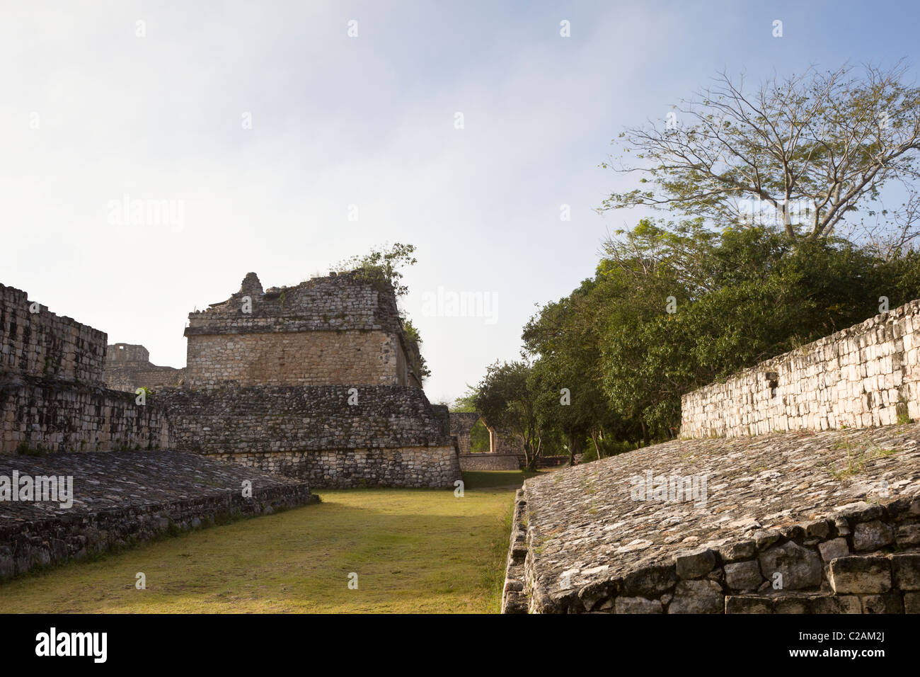 Ballcourt at the Maya ruins of Ek Balam in the Yucatan Peninsula, Mexico. - Stock Image