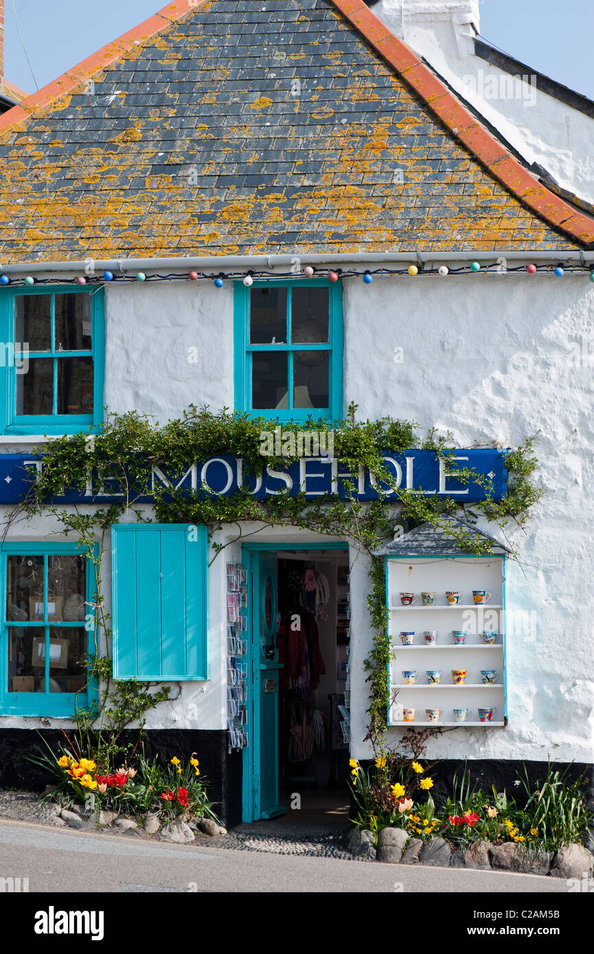 Souvenir shop in Mousehole, Cornwall, United Kingdom - Stock Image