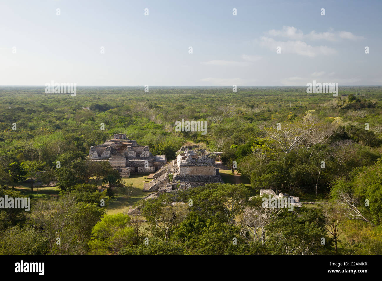 Overview of The Oval Palace and Twin Pyramids at the Maya ruins of Ek Balam from The Acropolis, Yucatan Peninsula, - Stock Image