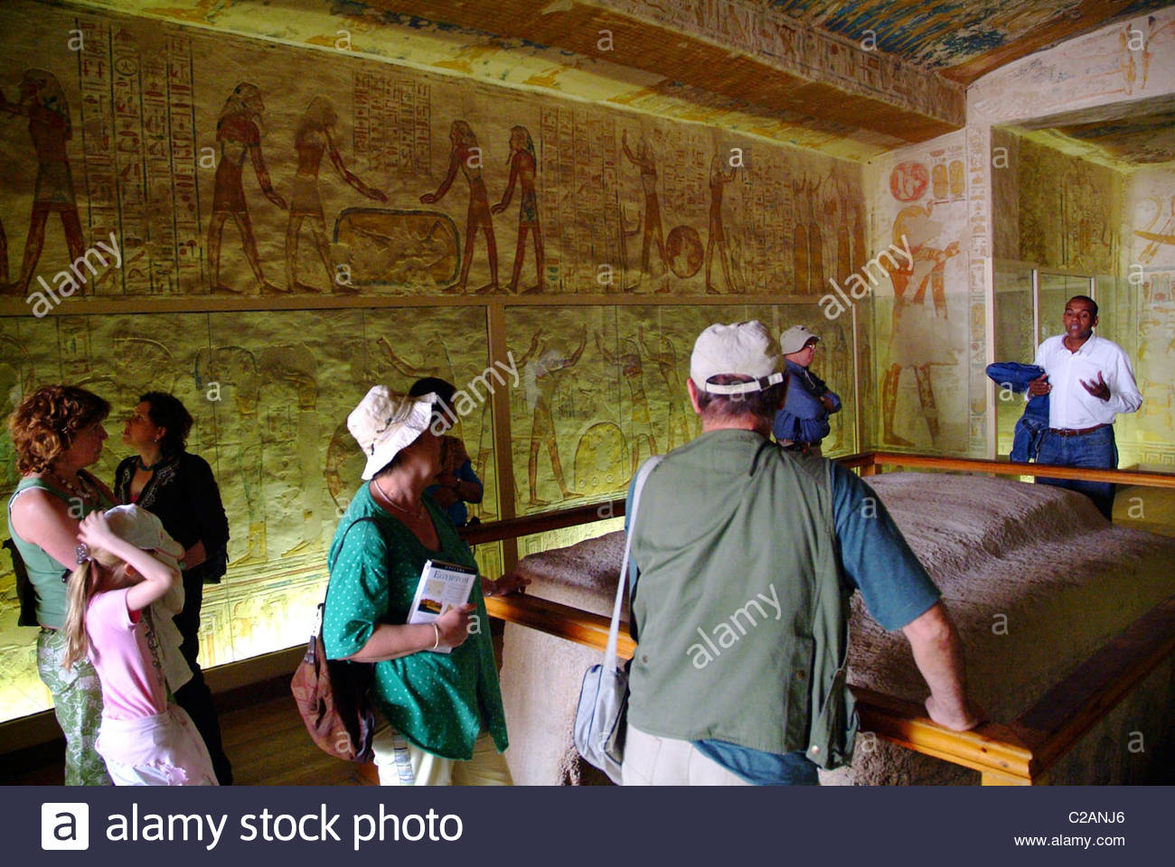 Tourists at the Tomb of Ramesses IV in Luxor. - Stock Image