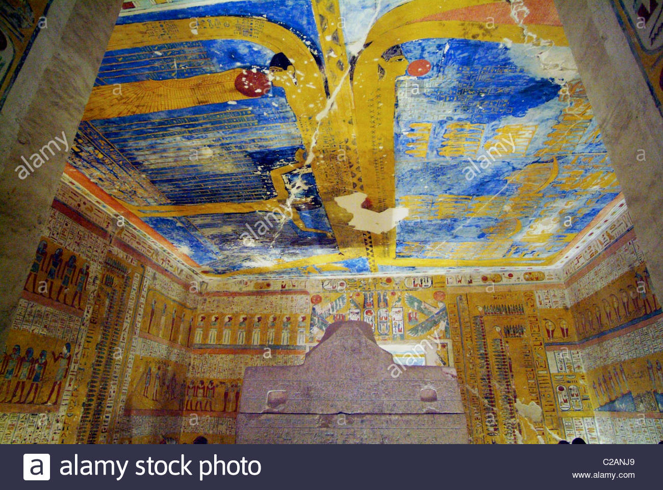 Painted detail inside the Tomb of Ramesses iV at Luxor. - Stock Image