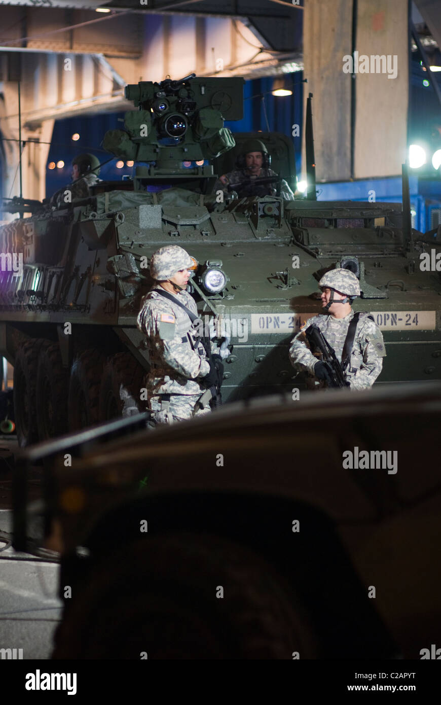 LAV Stryker armored fighting vehicle & Army National Guard soldiers near FDR Drive in Manhattan. © Craig - Stock Image