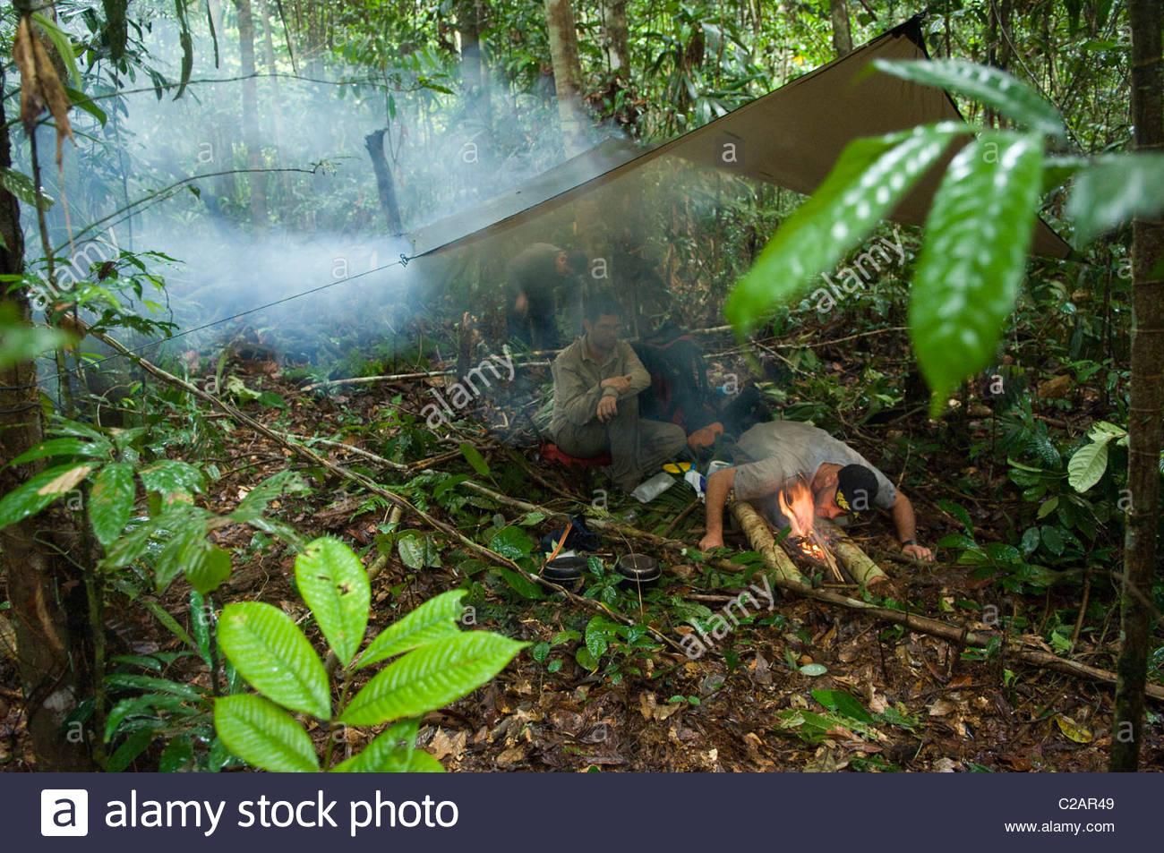 Ed Stafford at camp during his 859-day Amazon Jungle walk. - Stock Image