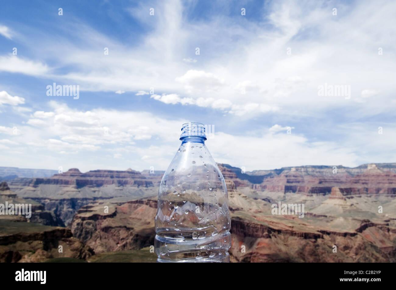 Empty water bottle and the Grand Canyon, Arizona, USA - Stock Image