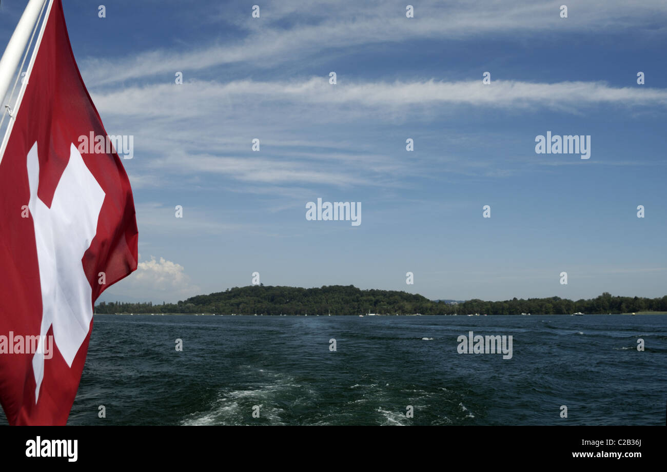Bielersee and Swiss flag - Stock Image