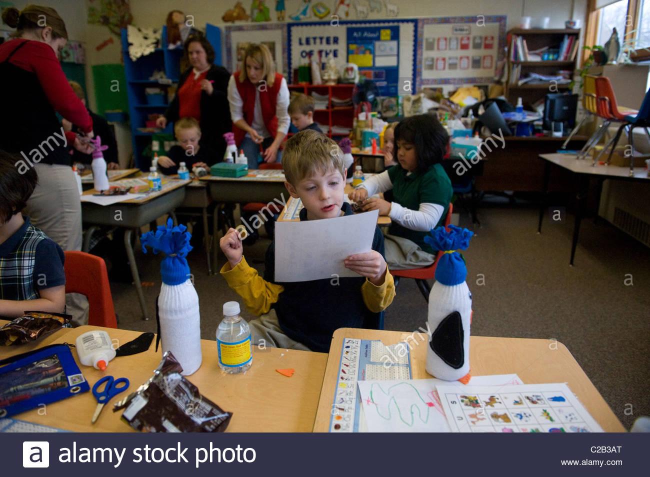 Inside a kindergarten classroom in Lincoln, Nebraska. - Stock Image