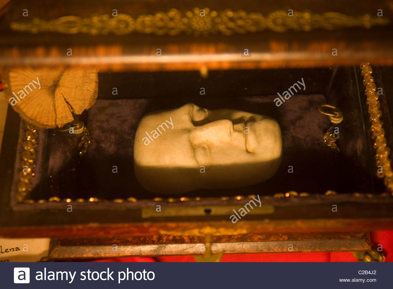 Napoleon's death mask at Longwood House, where he was in exile til death. - Stock Image
