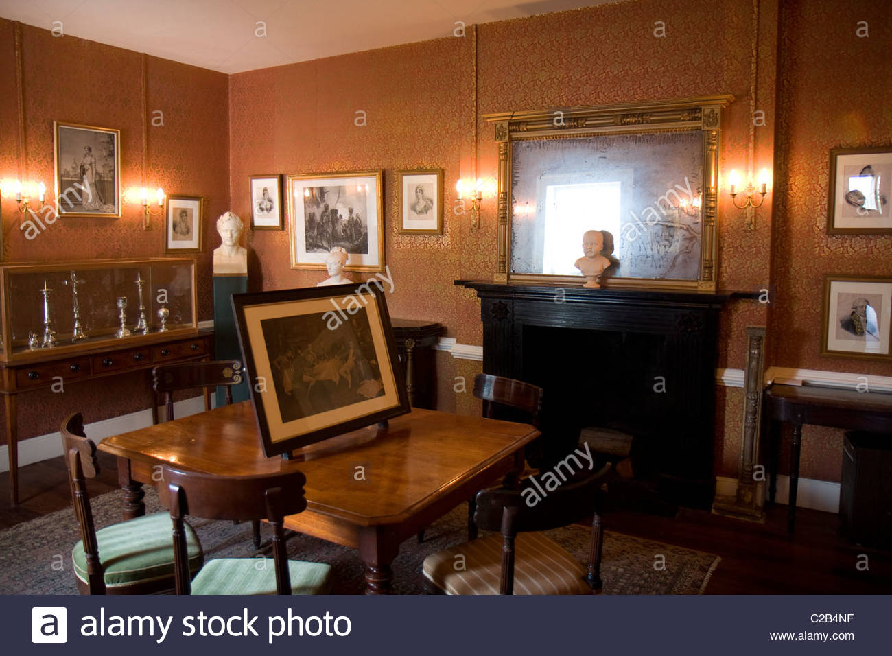 A room in Longwood House, where Napoleon was in exile until his death. Stock Photo