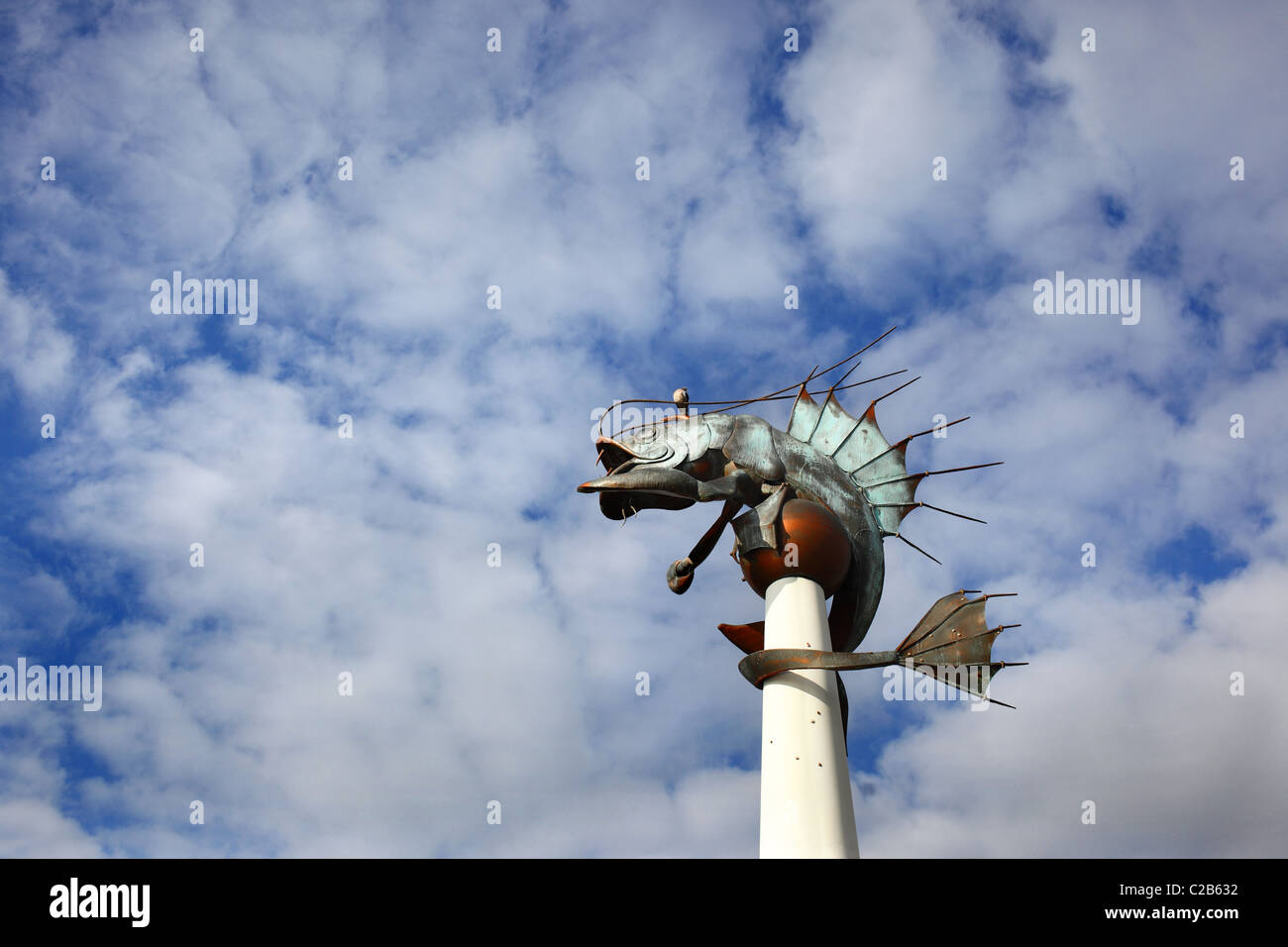 The shrimp/prawn sculpture designed by metalworker Brian Fell on Plymouth's barbican in Devon, UK. - Stock Image