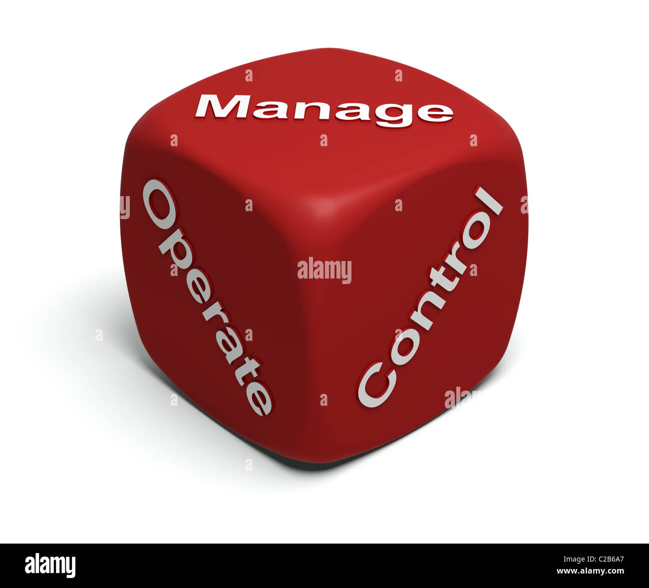 Red Dice with words Operate, Control, Manage on faces - Stock Image