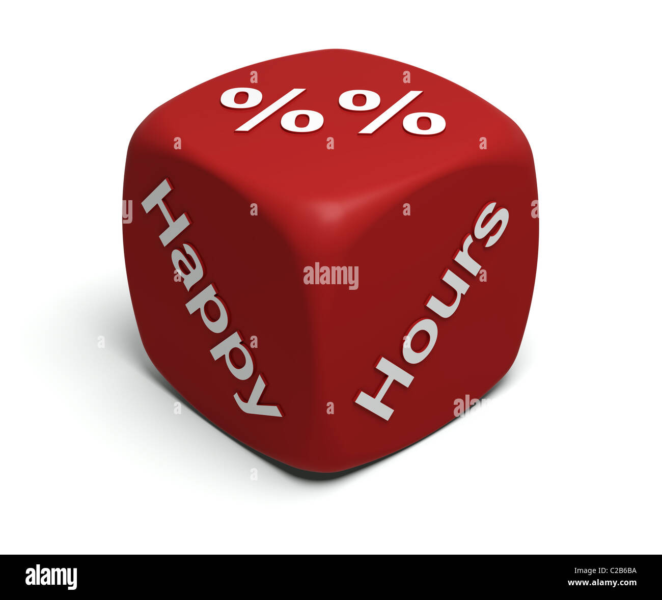 Red Dice with words Happy, Hour and Percent symbols on faces - Stock Image