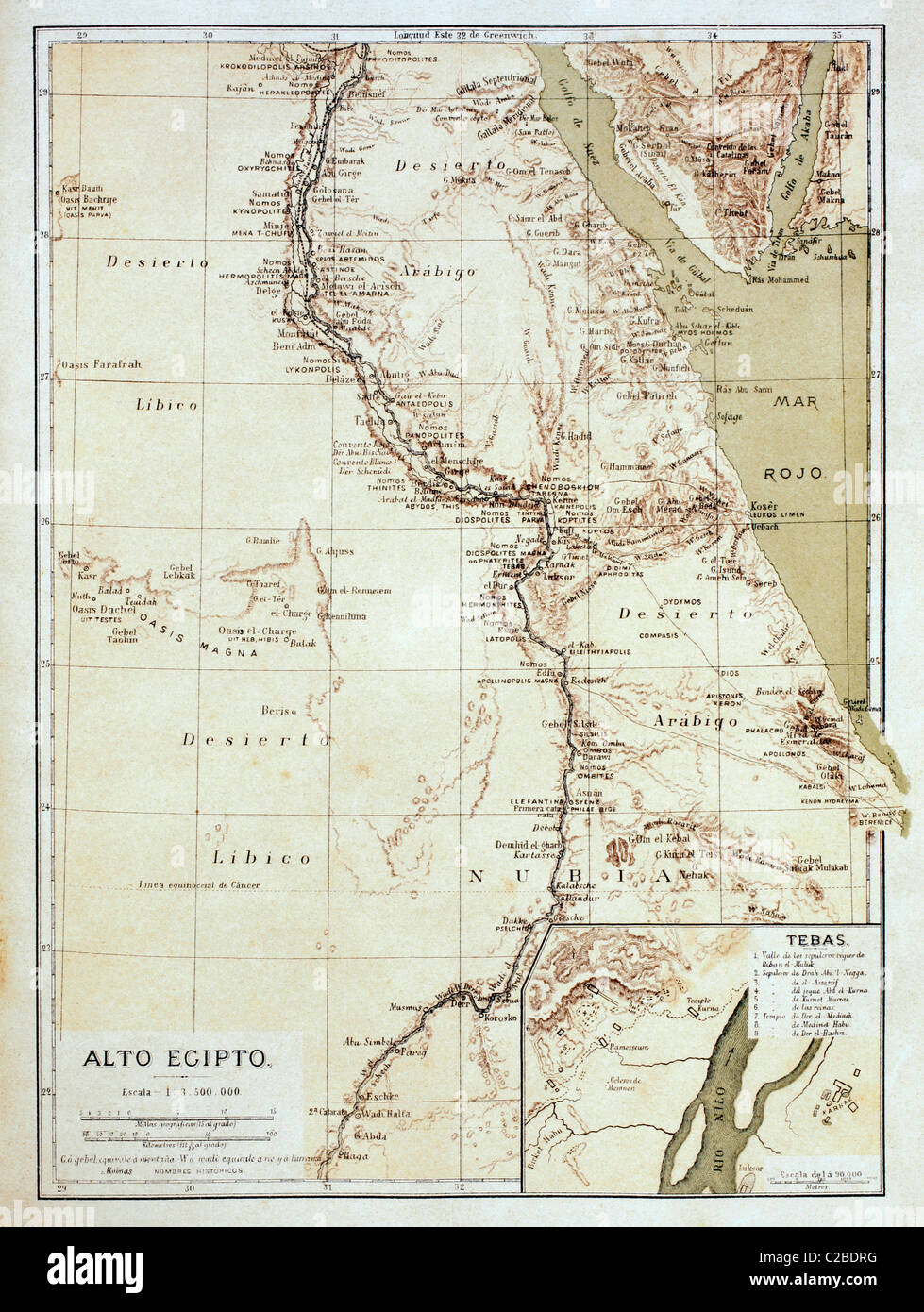 Map of Upper Egypt in the late 19th century. - Stock Image