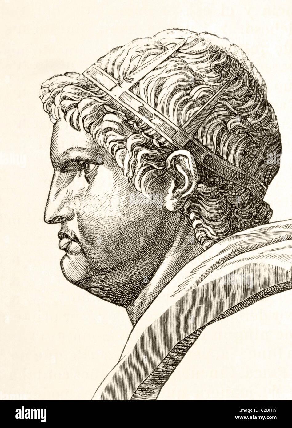 Nero Claudius Caesar Augustus Germanicus, AD37 - 68. Born Lucius Domitius Ahenobarbus. Emperor of Rome. - Stock Image