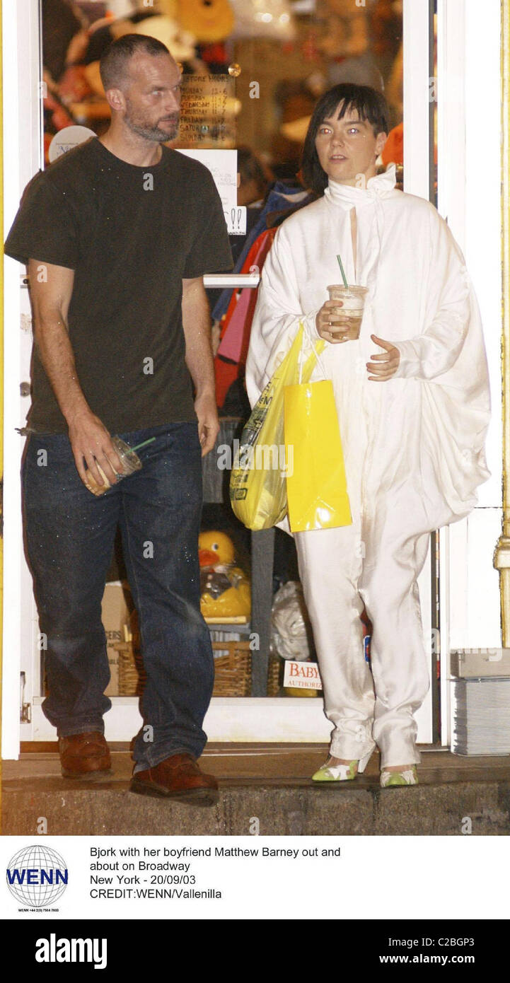 Bjork with her boyfriend Matthew Barney out and about on ...