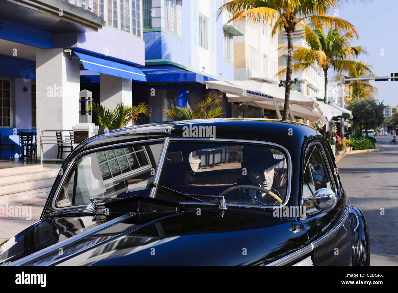 iconic Buick gangster, South Beach, Miami - Stock Image