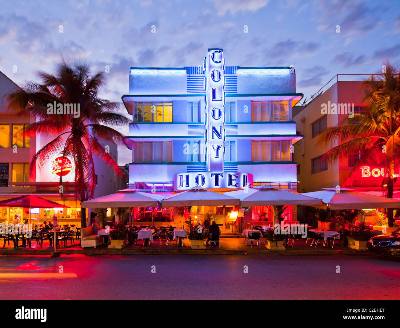 Colony Hotel at dusk, South Beach, Miami - Stock Image