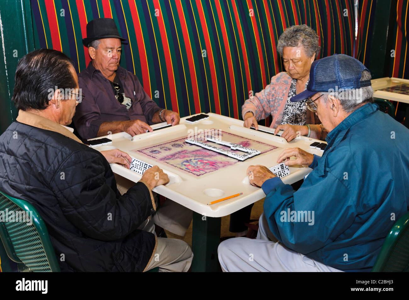 Domino Players, Little Havana, Miami - Stock Image