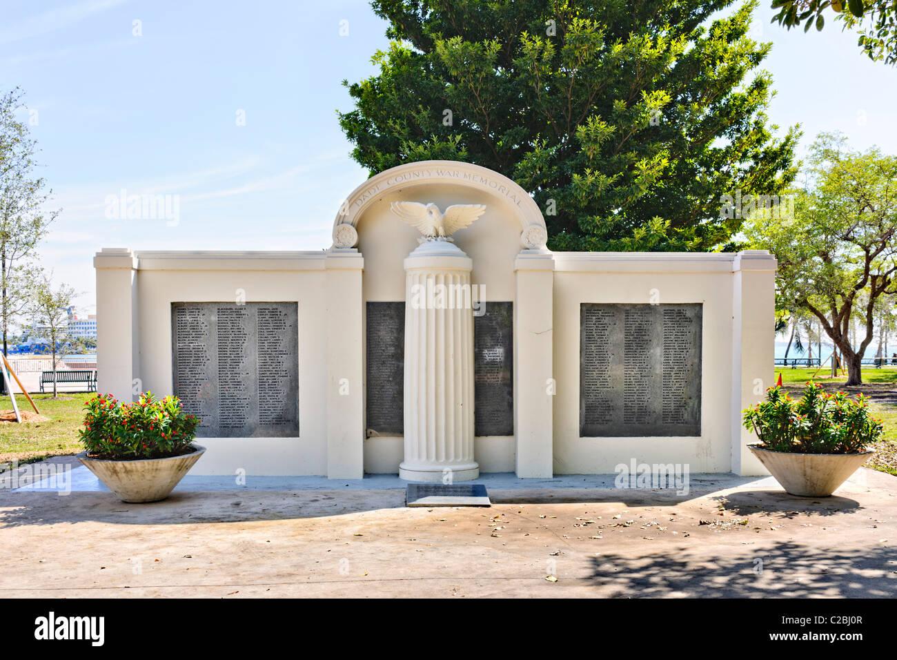 Dade County war memorial, bayfront park, Miami - Stock Image