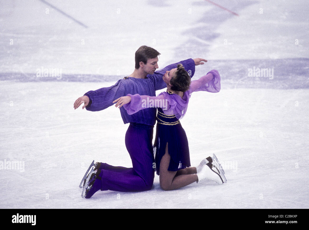 Torvill and Dean (GBR) gold medalist perform Bolero for a perfect score in the Dance Figure Skating at the 1984 - Stock Image