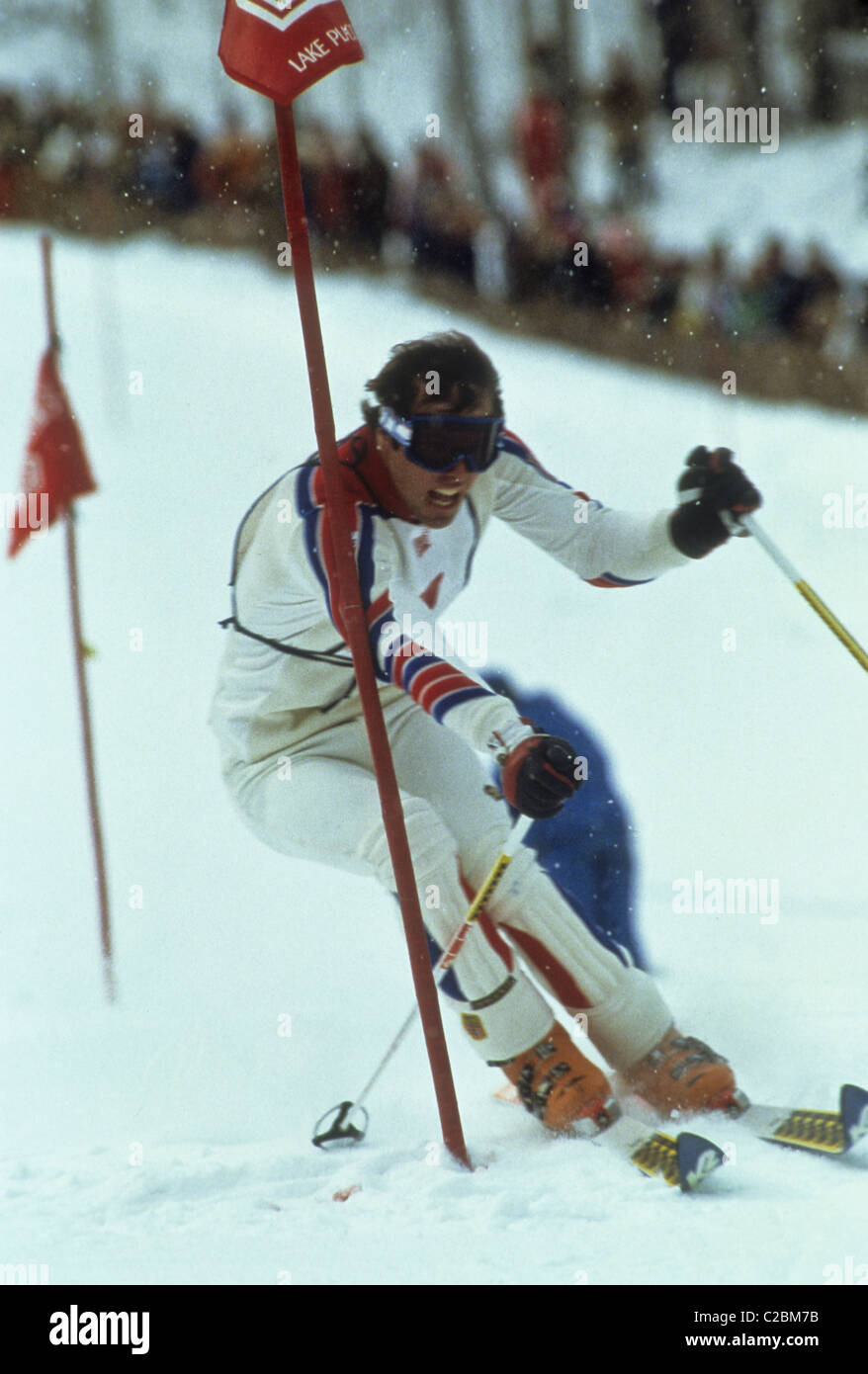 Phil Mahre (USA) silver medalist competing in the Slalom at the 1980 Olympic Winter Games, Lake Placid, New York - Stock Image