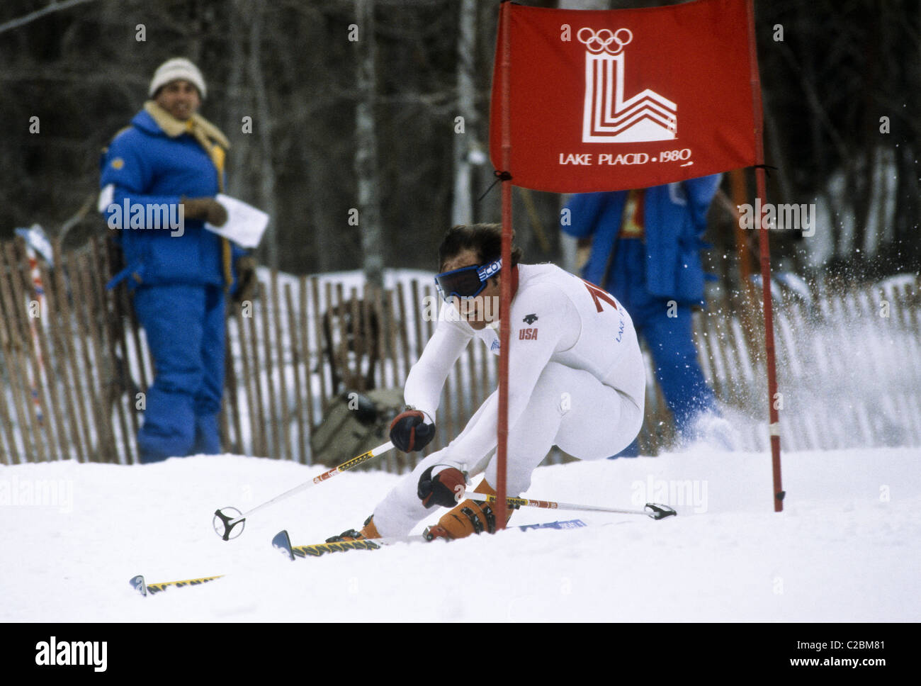 Phil Mahre (USA) competing in the Giant Slalom at the 1980 Olympic Winter Games, Lake Placid, New York - Stock Image