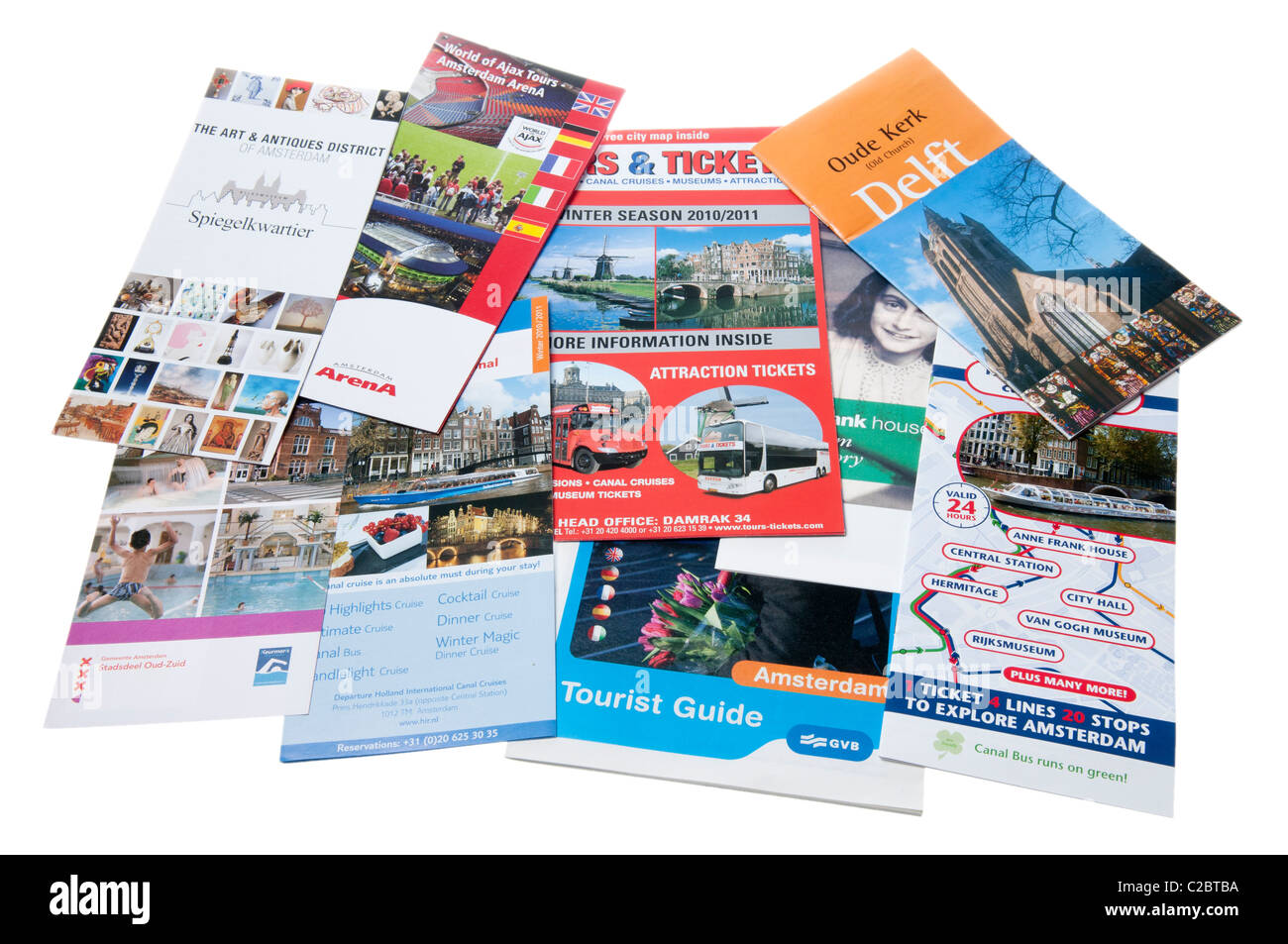 Selection of tourist brochures from Amsterdam, Holland, Netherlands - Stock Image