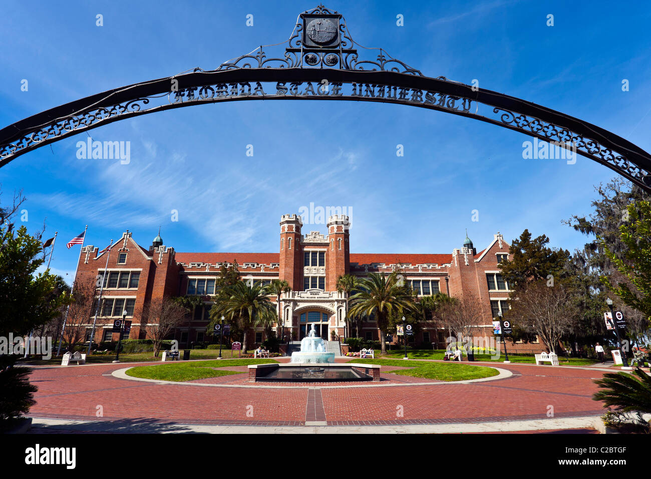 Looking through the entrance gates of the Florida State University in Tallahassee, Florida, United States - Stock Image
