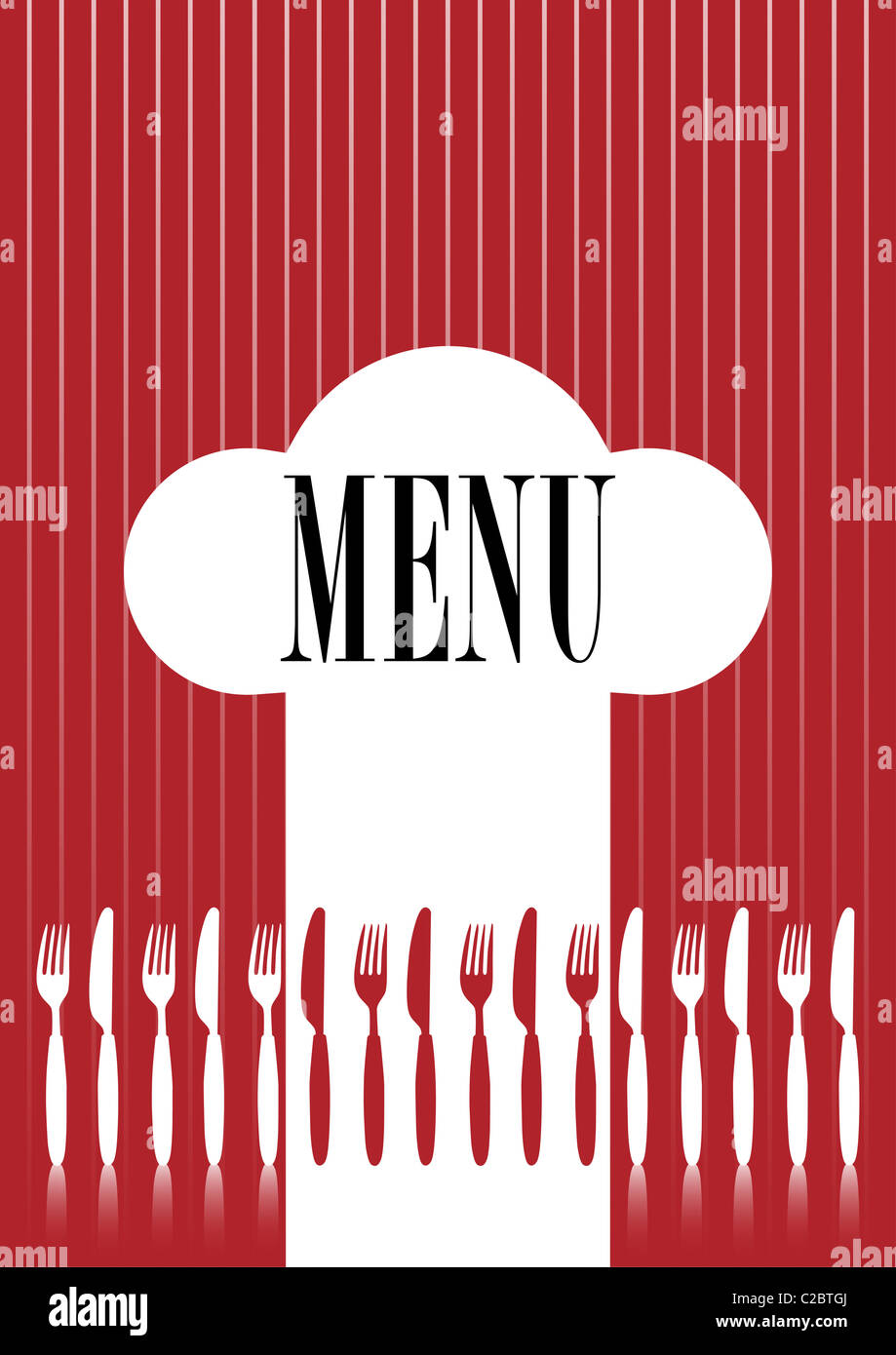 Menu Card Background Cutlery And Menu Sign On Dark Red