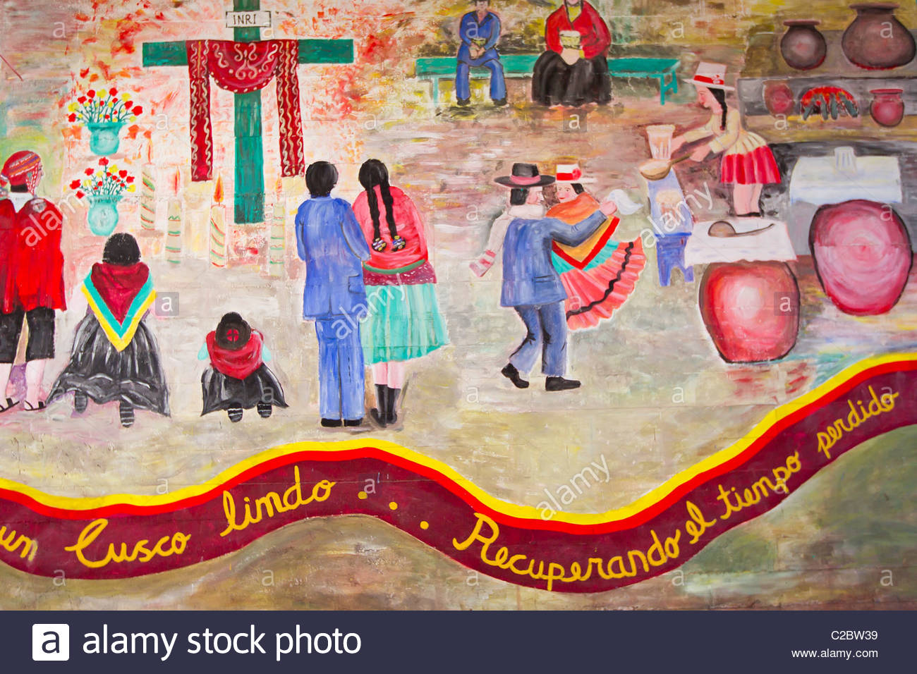 Mural painting depicting local life on a wall in downtown Cusco. - Stock Image