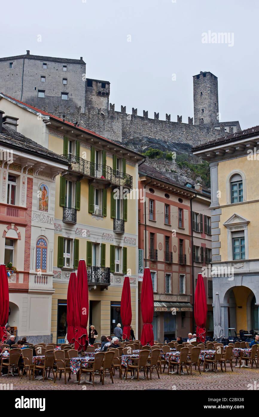 Bellinzona in Ticino with its Castelgrande Stock Photo