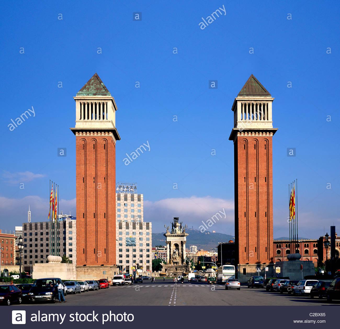 Venetian Towers on Placa de Espanya in Barcelona. - Stock Image