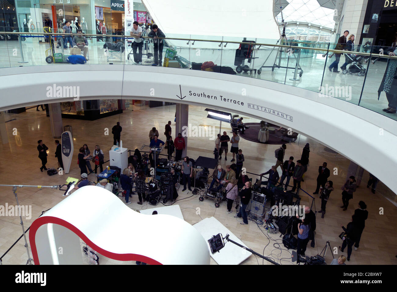 united kingdom west london white city a film crew filming an advert inside westfield shopping centre Stock Photo
